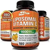 NutriFlair Liposomal Vitamin C 1600mg, 180 Capsules - High Absorption, Fat Soluble VIT C, Antioxidant Supplement, Higher Bioa