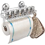 HASKO accessories Suction Cup Paper Towel Holder with Shelf and Hooks - Wall Mount Metal Roll Organizer - Tissue Roll Hanger