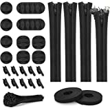 124pcs Cord Management Organizer Kit 4 Cable Sleeve with Zipper,10 Self Adhesive Cable Clip Holder,10pcs and 2 Roll Self Adhe