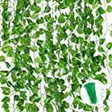 12 Pack 84 Ft Ivy Garland,Greenery Leaf Vine Garland Artificial Foliage for Wedding Party Garden Wall Decoration