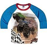 Shirts That Go Little Boys' Monster Trucks Racing Raglan T-Shirt