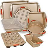 Nonstick Bakeware Set w/Baking Pans, Baking Sheets, Cookie Sheets, Muffin Pan, Bread Pan and Cake Pan with Cover – 10 Piece S