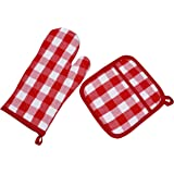 Yourtablecloth Set of Checkered Oven Mitt and Pot Holder or Oven Gloves-100% Cotton, Heat Resistance, Superior Protection & C