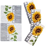 """Franco Kitchen Designers Set of 4 Decorative Soft and Absorbent Cotton Dish Towels, 15"""" x 25"""", Sunflower Country"""