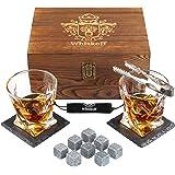 Whiskey Glass Set of 2 - Bourbon Whiskey Stones Gift Set - Rocks Whisky Chilling Stones - Scotch Glassess Gift in Wooden Box