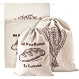 Linen Bread Bags, Pack of 4 Large and Extra Large Natural Unbleached Bread Bags, Reusable Drawstring Bag for Loaf, Homemade A