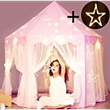 Princess Castle Tent with Large Star Lights String, Durable Girls Play Tent for Indoor and Outdoor Games, Stimulate Pretend a