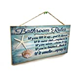 "Blackwater Trading Seashells Bathroom Rules If It Smells Spray It Beach Sign Plaque 5""x10"""