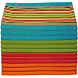 Kitchen Dish Towels Salsa Stripe - 100% Natural Absorbent Cotton (Size 28 x 16 inches) Festive Red Orange Green and Blue 12-P
