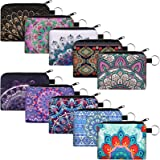 10 Pieces Small Coin Purse Boho Change Purse Pouch Mini Wallet Coin Bag with Zipper for Women Girls