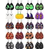FUNEIA 20 Pairs Halloween Earrings for Women Lightweight Drop Dangle Pumpkin Skull Bat Luminous Ghost Tombstone Faux Leather