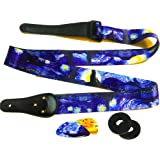 Van Gogh Starry Night Guitar Strap Includes 2 Strap Locks & 2 Matching Picks. Adjustable Polyester Guitar Strap - Art Tribute