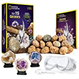 National Geographic Break Open 15 Premium Geodes - With Goggles, Detailed Learning Guide, 3 Display Stands, Great Stem Scienc