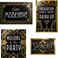 """Creative Converting 344499 Roaring 20s Wall Signs Decorations Kit, 10"""" x 6.5"""", 10"""" x 11.5"""", 13"""" x 9"""", Black and Gold"""