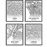 Black and White Wall Art - by Haus and Hues | Set of 4 Black and White Pictures of City Wall Art | Paris Wall Decor, New York
