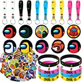 KRUEGER Party Supplies for Game Fans, 80 Pcs Party Favors - 10 Key Chain, 10 Bracelets, 10 Button Pins, 50 Stickers for Video