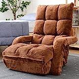 [山善] 座椅子 肘掛け ハイバック 3WAY (ソファー/カウチ/ごろ寝) ふわふわ素材(サンゴマイヤー生地) もこもこ リクライニング 42段階 折りたたみ 幅62㎝ 座椅子ソファー ブラウン IGHMZ-62(BR) 【Amazon.co.jp