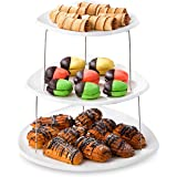 Collapsible Party Tray, 3 Tier - The Decorative Plastic Appetizer Trays Twist Down and Fold Inside for Minimal Storage Space.