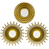 Gold Mirrors for Wall Pack of 3 - BONNYCO | Wall Mirrors for Room Decor & Home Decor | Gold Round Mirrors for Wall Decor | Ci
