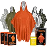 Emergency Rain Ponchos (3-Pack), Reusable Mylar Poncho for Men, Women, Kids, Adults + Emergency Gold Thermal Blanket for Camp