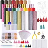 MIAHART Leather Earring Making Kit 32 pcs Faux Leather Sheets with Earring Hooks, Jump Rings, Templates, Tassels and Tools fo