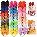 30PCS Baby Nylon Headbands Hairbands Hair Bow Elastics for Baby Girls Newborn Infant Toddlers Kids