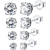 Sllaiss 3-6MM Sterling Silver Cubic Zirconia Stud Earrings for Women Men Round Cut CZ Earrings Set Hypoallergenic