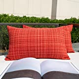 Kevin Textile Pack of 2 Decorative Outdoor Waterproof Pillow Covers Garden Cushion Sham Throw Pillowcase Shell for Patio Tent