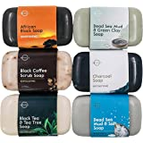 O Naturals 6-Piece Black Bar Soap Collection. 100% Natural. Organic Ingredients. Helps Acne, Helps Skin Moisturizes, Deep Cle