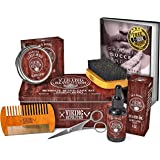 (Beard Care Kit - Sandalwood) - Beard Care Kit for Men- Sandalwood- Ultimate Beard Grooming Kit includes 100% Boar Beard Brus