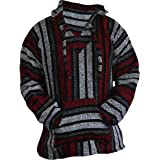 Del Mex Mexican Baja Hoodie Sweater Jerga Pullover Red Gray Unisex