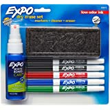 EXPO Low-Odor Dry Erase Set, Fine Point, Assorted colours, 7-Piece with Cleaner