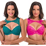 Curve Muse Women's Underwire Lightly Padded Lace Contour Coverage Bra-1 3 Pack
