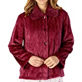 Slenderella Ladies Long Sleeve 380GSM Thick Luxury Soft Velvet Fleece Button Up Bed Jacket with Faux Fur Collar Size Small to