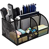 Deli Mesh Desktop Organizer Office Supplies Caddy with Pen Holder and Storage Baskets for Desk Accessories, 7 Compartments, B