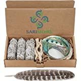 Sarimoire Sage Smudge Kit - White Sage Smudge Sticks - 4In ~ Abalone Shell 5-6In ~ 2In Tripod Stand ~ 10-12In Feather and Whi