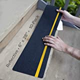 """LifeGrip Anti Slip Traction Treads with Reflective Stripe (10-Pack), 6"""" X 28"""", Best Grip Tape Grit Non Slip, Outdoor Non Skid"""