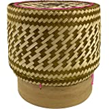 Panwa Handmade 100% Eco-Friendly Thai Bamboo Sticky Rice Serving Basket - Chestnut Toned Wickerwork With Vegetable Based Dye
