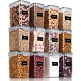Vtopmart Airtight Food Storage Containers 12 Pieces 1.5qt / 1.6L- Plastic PBA Free Kitchen Pantry Storage Containers for Suga