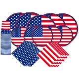 "American Flag Patriotic Paper Tableware Set- 125 Pieces - Including Napkins, 10"" Big Paper Dinner Plates,7"" Dessert Plates an"