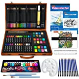 115 Piece Deluxe Art Set, Shuttle Art Art Supplies in Wooden Case, Painting Drawing Art Kit with Acrylic Paint Pencils Oil Pa
