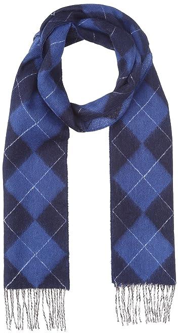 Argyle Wool Angora Scarf 118-35-0219: Blue