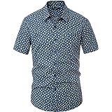 PJ PAUL JONES Men's Slim Fit Short Sleeve Pineapple Printed Shirt