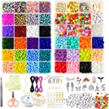AKILION Beads for Jewellery Making Kit Includes 5500 Pcs Glass Seed Beads 2400 Pcs Flat Clay Beads 820 Pcs Alphabet Beads Pea