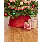 The Lakeside Collection Decorative Metal Christmas Tree Ring - Red