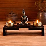 Mini Buddha Statue Zen Decoration with 2 Tealight Candle Holders and Wood Shelf Base