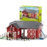 SCHLEICH 72102 Farm World Large Toy Barn and Farm Accessories 27-piece Playset for Toddlers and Kids Ages 3-8 Red