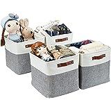 DECOMOMO Foldable Storage Bin Collapsible Sturdy Cationic Fabric Storage Basket Cube W/Handles for Organizing Shelf Nursery H