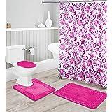 Luxury Home Collection 16 Piece Embossed Memory Foam Non-Slip Bathroom Rug Set Includes Bath Rug Mat, Contour Mat, Toilet Lid