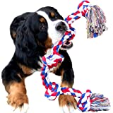 Youngever 3.2 Feet 5 Knots Dog Rope Toys for Aggressive Chewers, Tough Rope Chew Toys for XL, Large and Medium Dog, Indestruc